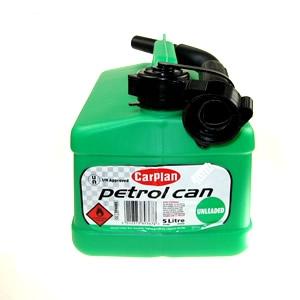 green plastic petrol can 5l