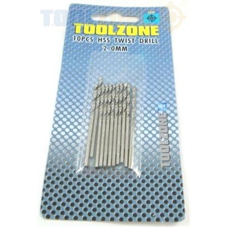 Toolzone 10Pc 2.0mm HSS Twist Drill Set