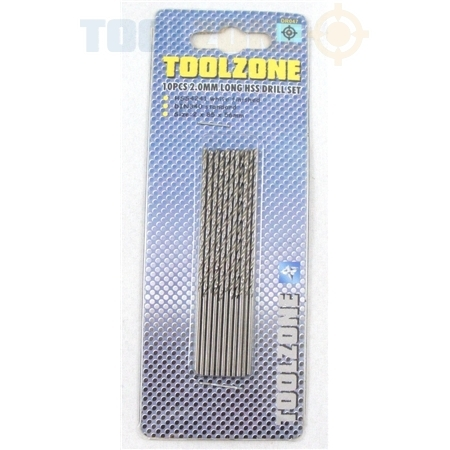 Toolzone 8Pc 2.0mm Long HSS Drill Set