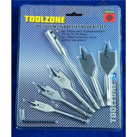 Toolzone 7Pc 100mm Stubby Flat Wood Bit Set