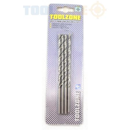 Toolzone 4Pc 5.0mm Long HSS Drill Set