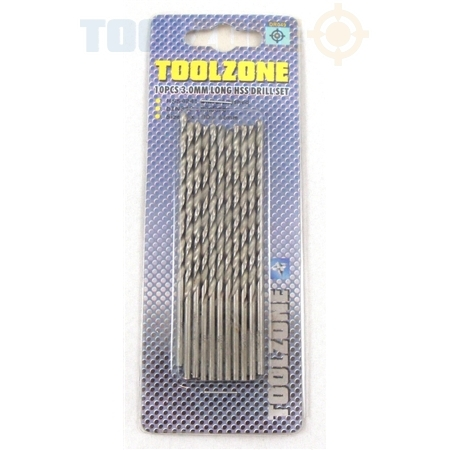 Toolzone 8Pc 3.0mm Long HSS Drill Set