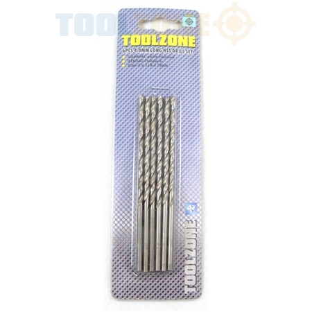Toolzone 5Pc 4.0mm Long HSS Drill Set