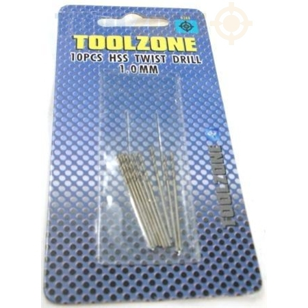 Toolzone 10Pc HSS Twist Drill Set 1mm