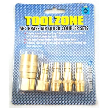 Toolzone 5Pc Brass Air Quick Coupler Set