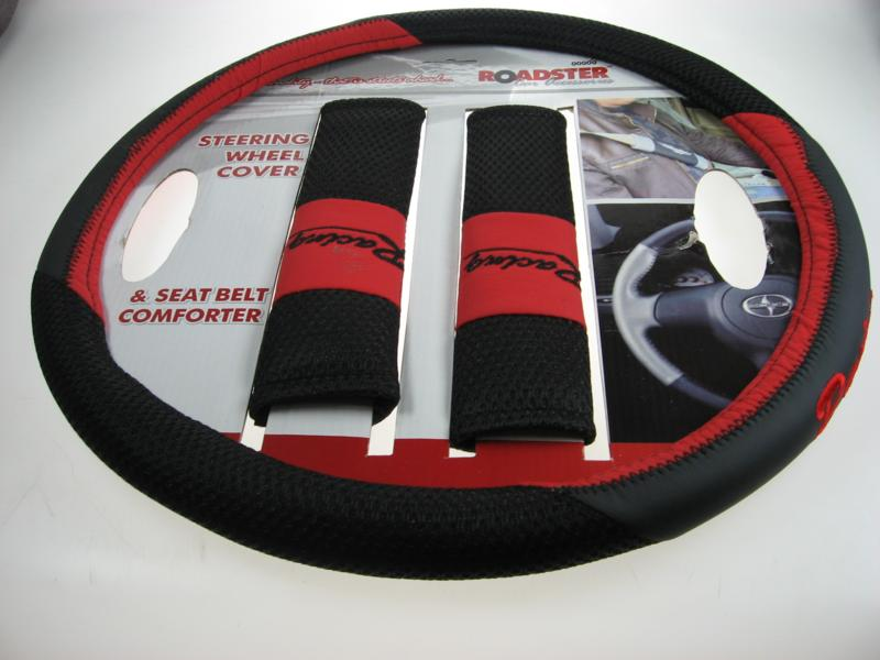 steering wheel cover set with two seat belt pads Red