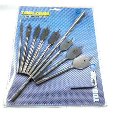 toolzone 10pc flat wood bits