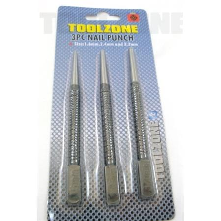 toolzone 3pc nail punch set
