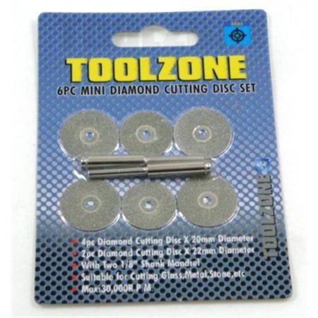 toolzone 6pc mini diamond cutting discs set