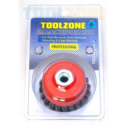 toolzone 80mm M14 knotted cup brush