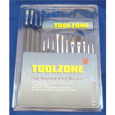 toolzone 15pc assorted artist brushes