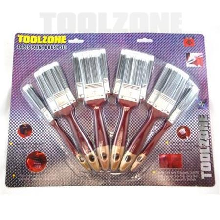 toolzone 10pc paint brush set