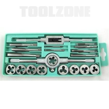 toolzone 20pc tap & die set