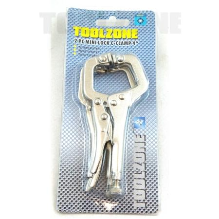 """toolzone 2pc mini lock c-clamp 4"""""""